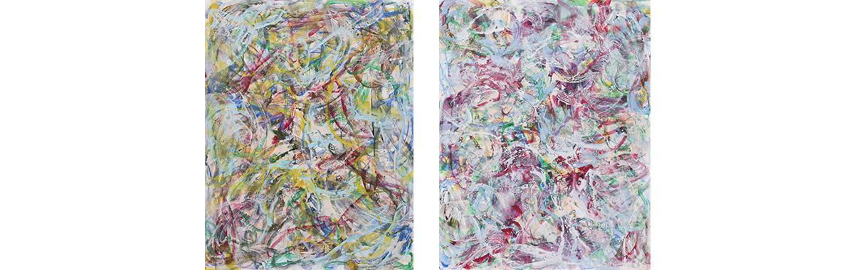 1, 2018, twosome, je 230 cm x 180 cm, Acryl auf Leinwand